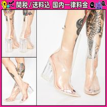 DOLLS KILL Casual Style PVC Clothing Chunky Heels Ankle & Booties Boots