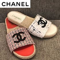 CHANEL Glen Patterns Open Toe Casual Style Unisex Espadrille Shoes