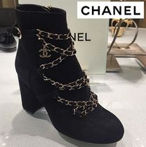 CHANEL Round Toe Blended Fabrics Plain Leather Block Heels