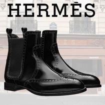 HERMES Round Toe Casual Style Plain Leather Ankle & Booties Boots