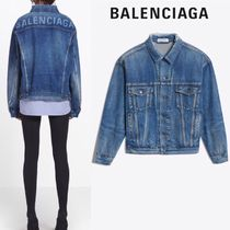 BALENCIAGA Unisex Denim Plain Oversized Jackets