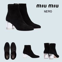 MiuMiu Casual Style Suede Plain Block Heels Ankle & Booties Boots