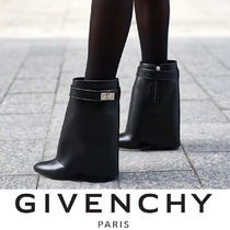 GIVENCHY Casual Style Plain Leather Wedge Boots