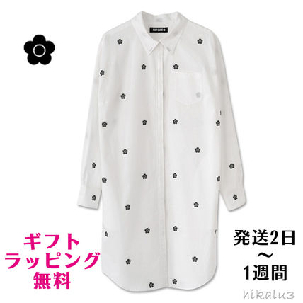 Flower Patterns Casual Style Long Sleeves Plain Cotton