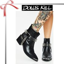 DOLLS KILL Casual Style Studded Plain Block Heels Ankle & Booties Boots