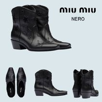 MiuMiu Star Casual Style Leather Block Heels Ankle & Booties Boots