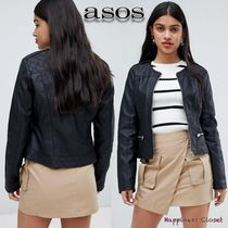ASOS Short Faux Fur Plain Biker Jackets