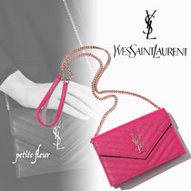 Saint Laurent Casual Style Street Style 2WAY Chain Plain Leather Clutches