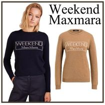 Weekend Max Mara Casual Style Cashmere U-Neck Long Sleeves Medium Cashmere