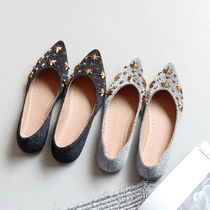 Star Casual Style Faux Fur Slip-On Shoes