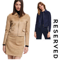 RESERVED Short Casual Style Suede Plain Jackets