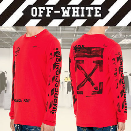 Off-White Long Sleeve Crew Neck Street Style Long Sleeves Cotton