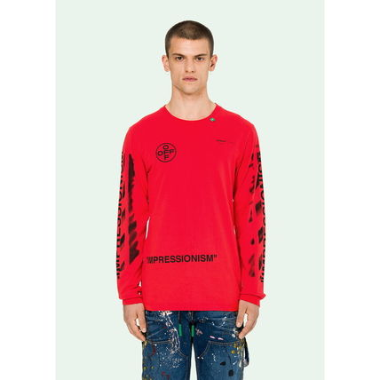 Off-White Long Sleeve Crew Neck Street Style Long Sleeves Cotton 3