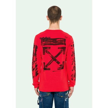 Off-White Long Sleeve Crew Neck Street Style Long Sleeves Cotton 5