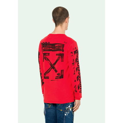 Off-White Long Sleeve Crew Neck Street Style Long Sleeves Cotton 8