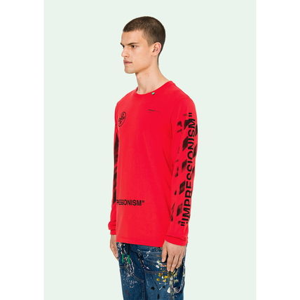 Off-White Long Sleeve Crew Neck Street Style Long Sleeves Cotton 9
