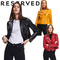 RESERVED Short Faux Fur Plain Biker Jackets