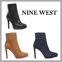 Nine West Suede Plain Pin Heels Elegant Style Ankle & Booties Boots