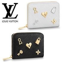 Louis Vuitton EPI Heart Blended Fabrics Studded Leather Coin Purses
