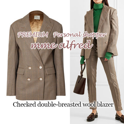 Other Check Patterns Casual Style Wool Medium Jackets