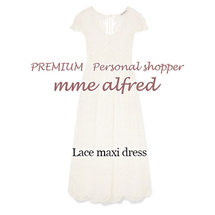 Casual Style Maxi Long Short Sleeves Lace Dresses