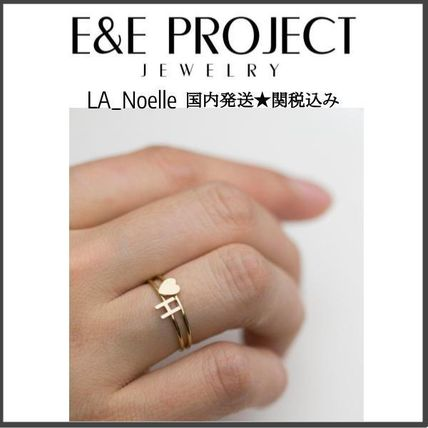 E and E PROJECT 2019 SS Initial Handmade 14K Gold Rings
