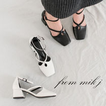 Square Toe Faux Fur Plain Party Style Chunky Heels