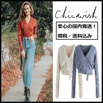 Chicwish Casual Style V-Neck Long Sleeves Plain Sweaters