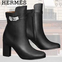 HERMES Kelly Plain Leather Block Heels Ankle & Booties Boots