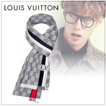 Louis Vuitton DAMIER Wool Fringes Scarves