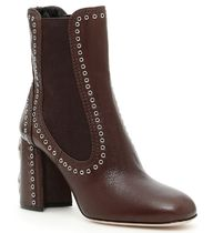 MiuMiu Round Toe Leather Block Heels Ankle & Booties Boots