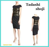 TADASHI SHOJI Tight Boat Neck Medium Short Sleeves Lace Dresses