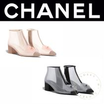 CHANEL ICON Flower Patterns Blended Fabrics Street Style Block Heels