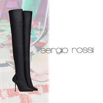 Sergio Rossi Plain Leather Pin Heels Elegant Style Over-the-Knee Boots