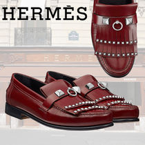 HERMES Moccasin Round Toe Casual Style Studded Plain Leather Flats