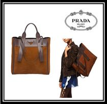 PRADA Casual Style Suede A4 2WAY Plain Oversized Totes