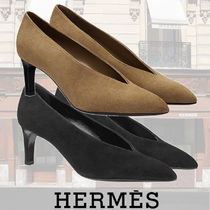 HERMES Plain Leather Pin Heels Office Style