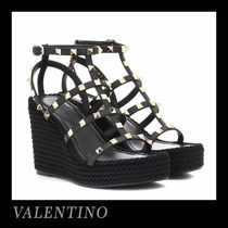 VALENTINO Open Toe Casual Style Studded Leather
