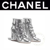 CHANEL Street Style Chain Plain Leather Block Heels Elegant Style