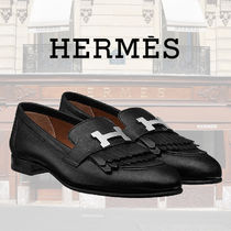 HERMES Round Toe Plain Leather Fringes Elegant Style