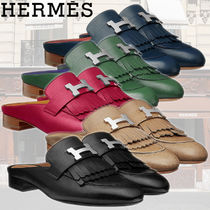 HERMES Round Toe Casual Style Plain Leather Fringes Sandals
