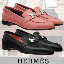 HERMES Casual Style Plain Leather Loafer Pumps & Mules
