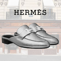HERMES Round Toe Plain Leather Elegant Style Sandals
