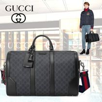 GUCCI Stripes Monogram Canvas Blended Fabrics 2WAY Boston Bags