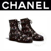 CHANEL Lace-up Casual Style Tweed Blended Fabrics Street Style
