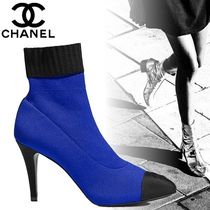 CHANEL Plain Pin Heels Elegant Style Ankle & Booties Boots
