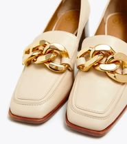 Tory Burch Square Toe Chain Leather Block Heels