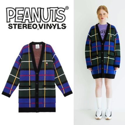 Button-down Tartan Unisex Collaboration Oversized Cardigans