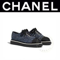 CHANEL Flower Patterns Rubber Sole Lace-up Casual Style