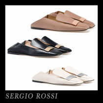 Sergio Rossi Square Toe Plain Leather Office Style Slippers Flats